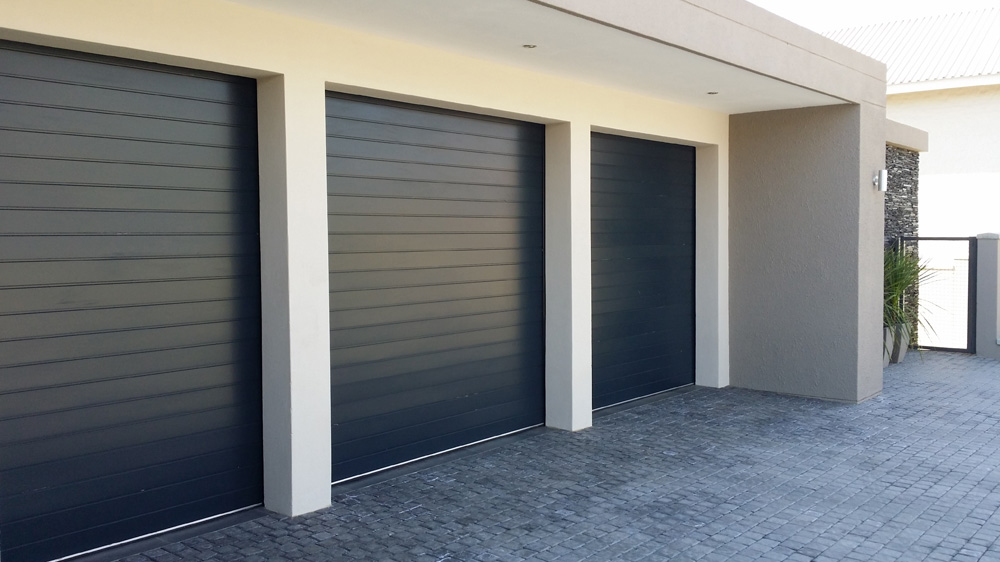 Single charcoal aluminium magnificent doors for Single garage prices