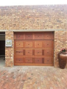 16 Panel Brown Gothic Wooden Garage Door