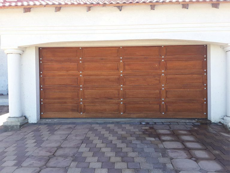 Double Gothic with Silver Studs Wooden Garage Doors