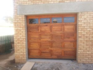 Glass Top Panel Wooden Garage Door