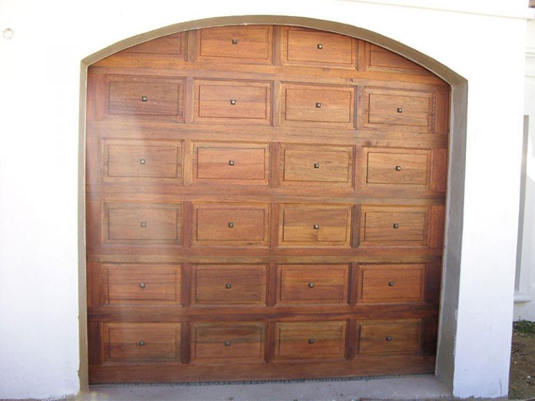 Single Caravan with Studs Wooden Garage Door