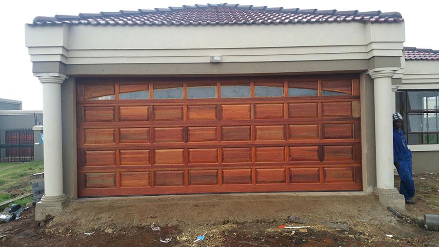 Double Sunrise Wooden Garage Doors