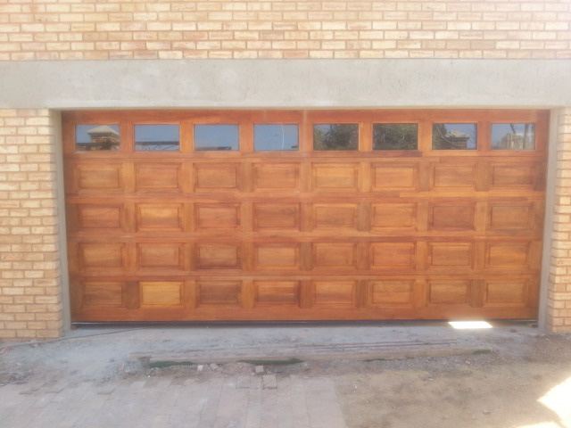Double With Glass Top Panel Wooden Garage Doors