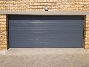 Double Charcoal Horizontal Slatted Steel Garage Doors