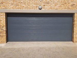 Double Charcoal Horizontal Slatted Steel Garage Doors
