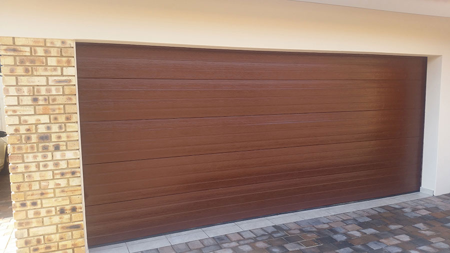 Double Horizontal Slatted Brown Steel Garage Doors