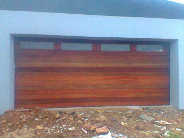 Double Horizontal Slatted with glass top Wooden Garage Doors