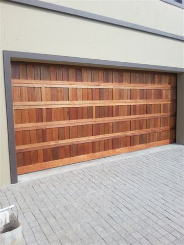 Double Vertical Framed Wooden Garage Doors