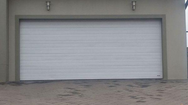 Double White Aluminium Garage Doors