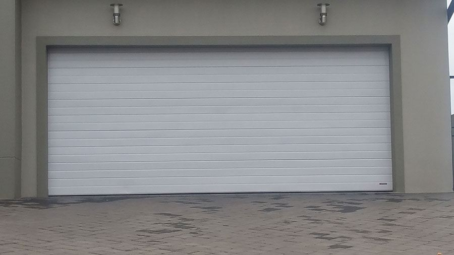 Double White Aluminium Garage Doors