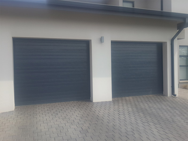 Single Horizontal Slatted Charcoal Steel Garage Doors