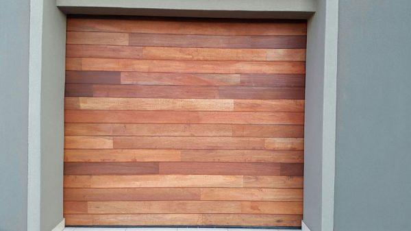 Single Horizontal Slatted Jointed Wooden Garage Door