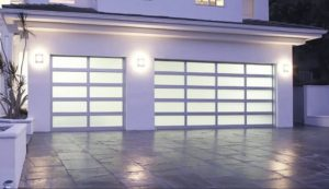 White Aluminium Garage Door with frosted glass