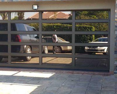 Double Bronze Garage Door with bronze mirror glass