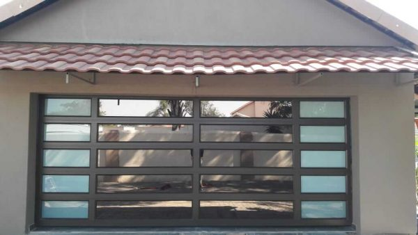 Double Bronze Garage Door with bronze mirror and frosted glass on sides