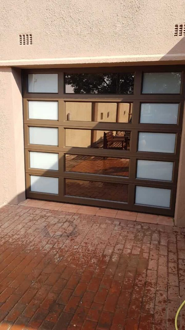 Single Bronze Garage Door with bronze mirror and frosted glass on sides