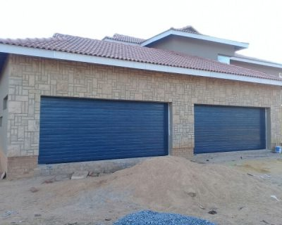 Double Charcoal Horizontal Slatted Garage Door