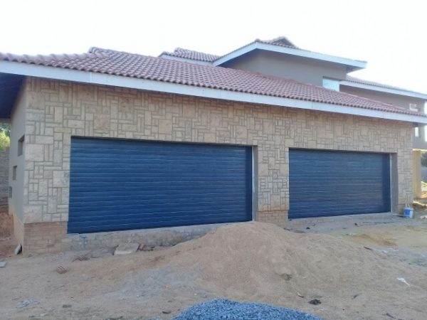 Double Charcoal Horizontal Slatted Garage Door