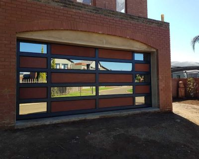 Double Tuscan Style Garage Door with mirror glass and flat wooden board
