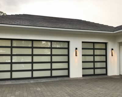 Aluminium Garage Door with full frosted glass
